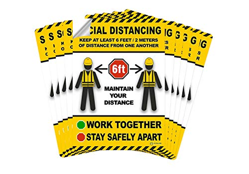 Prime Vantage Social Distancing Sticker Sign, 10 Stickers, Durable Sticker with Strong Adhesive, Avoid Contact, Work Together, Stay Safely Apart, Maintain Distance, Construction 10 x 7