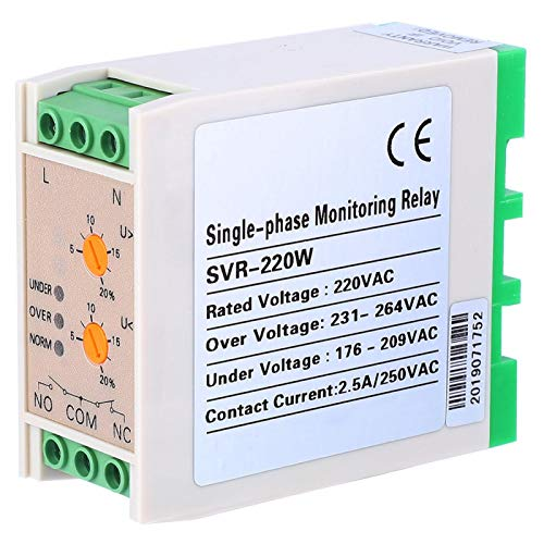 Power Monitoring Relay 50/60Hz Voltage Protective Device Voltage Monitoring 3 Indicators for Building Electronics Projects Industry Applications