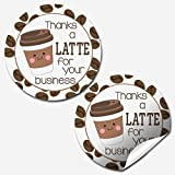 Thanks A Latte Coffee Themed Thank You Customer Appreciation Sticker Labels for Small Businesses, 60 1.5' Circle Stickers by AmandaCreation, Great for Envelopes, Postcards, Direct Mail, More!