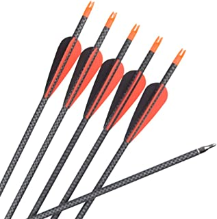NIKA ARCHERY Pure Carbon Arrows for Outdoor Target Hunting Shooting 6 pcs 26 inch - 30 inch