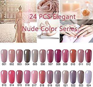 24pcs Nude Color : CLAVUZ 24pcs Gel Nail Polish Set Nude Color Collection Soak Off Gel Nail Lacquer Nail Art Manicure High-gloss 8ml New Starter Christmas Gift Kit