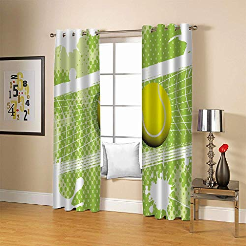 fgjorics Tennis Sports Waterproof and Mildew Proof Polyester Curtain Colorful 3D Home Office Decorative Curtains (2 Panels) 230(H) X140(W) Cmx2