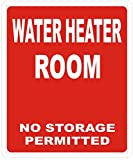 WATER HEATER ROOM SIGN - RED ( Reflective !!! ALUMINUM , 10X12)