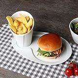 Holst Porzellan SL 130 - Set di 2 piatti per hamburger in porcellana e sacchetto per friggere patatine come set da portata, 2 pezzi