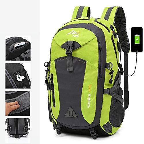 Topashe Mochila de Senderismo Cubierta Camping Deporte,Bolsa de Viaje con Carga USB, Bolsa de montañismo portátil 40L-Green_Standard Edition,Mochila Trekking Escalada