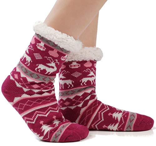Warm Fleece Lined Winter Soft Slipper Socks Christmas With Non Slip Men's Women (Women 6-12; Men 5-10, Deer Rose)