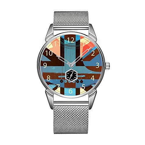 Mode herenhorloge zilverkleurig roestvrij staal waterdicht horloge heren top merk herenhorloge Britse rock - Union Jack met akoestische gitaar horloges