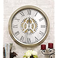 Ebros Large 25 W Contemporary Modern Transitional Design Silver Trim Steampunk Wall Clock with Complex Mechanical Moving Gears and Roman Numerals Accent Clockwork Gearwork Decor