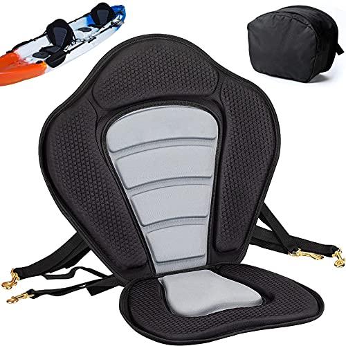 Asiento De Kayak Universal Deluxe Acolchado Ajustable Desmontable con Respaldo Y Bolsa De Almacenamiento Impermeable para Kayak Pesca Sup Paddleboard