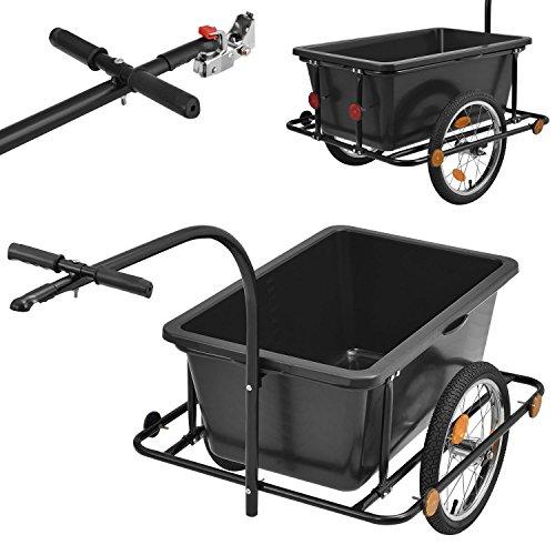 Juskys Fahrradanhänger 90 Liter - Lastenanhänger mit Kupplung & Deichsel – Anhänger für Fahrrad 80 kg Zuladung – Transportanhänger mit Reflektoren