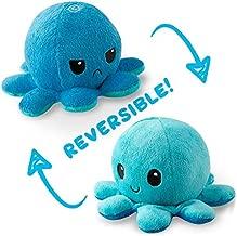 TeeTurtle Reversible Octopus Mini Plush - Stuffed Animal Toy, Light Blue/Dark Blue