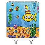 Cortina de ducha de decoración submarina amarilla, tema submarino, caballito de mar submarino, estrella de mar y estampado de peces, juego de decoración de tela para baño con ganchos, caléndula aguama