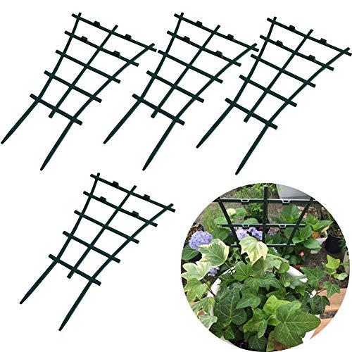 lulalula 4 Stück überlagerte Gartenpflanzenstütze Kunststoff DIY Mini Rankgitter Rankhilfe Rankgitter Blumen Stütze dunkelgrün