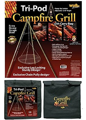 Wilcor Campfire Tri-Pod Grill (Adjustable Height & Quick Setup)