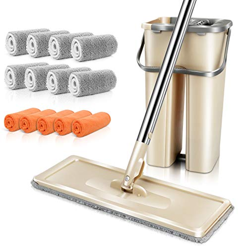 MASTERTOP Mop and Bucket Wringer Set - Microfiber Squeeze Mop for Floor Cleaning, 360 Flat Mop Bucket System Hand Free, Stainless Steel Handle,5 Cleaning Cloth, 8 Reusable Mop Pads Washable