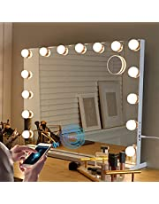 Fenair Makeup Mirror with Lights and Bluetooth Speaker Support Answer Call Hollywood Vanity Mirror, Touch Screen, 3 Color Modes Frameless Tabletop Mirror
