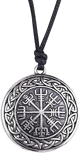 AMOZ Collares, Joyería, Utilizado para Símbolo de Moda de Runas Nórdicas Nórdicas Vegvisir Colgante Collar Brújula con Cadena para Mujeres Hombres Joyería Vikinga