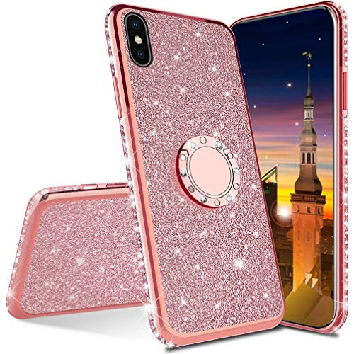 MRSTER Compatibile con iPhone 6 Plus Custodia Glitter Bling Scintillante Brillantini Custodia con Ring Kickstand Rotante a 360 Gradi Donna Cover per Apple iPhone 6 Plus / 6S Plus. Rose Gold