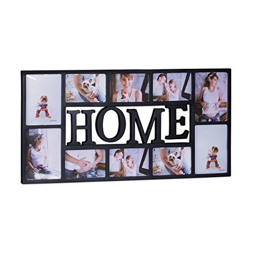 Relaxdays Cadre photos HOME pêle-mêle 10 photos Galerie mur cadre mural HxlxP: 36,5 x 72 x 2 cm, noir