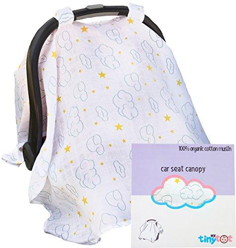 Housse de siège auto – Housse 100% coton bio – Auvent style se fixe facilement au siège auto pour protéger bébé du soleil ou du vent, en tissu respirant de haute qualité, design mignon pour garçons et filles