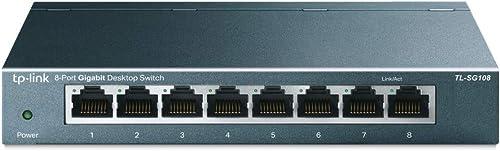 TP-Link Switch Ethernet (TL-SG108) Gigabit 8 RJ45 ports metallique 10/100/1000 Mbps, idéal pour étendre le réseau câb...