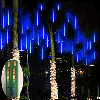 Zezuxy Falling Rain Lights Blue, UL Certified Meteor Shower Lights with 30cm 8 Tubes 144 LEDs Rain Drop Lights, Snow Falling Lights Cascading Icicle String Lights for Christmas Trees Garden Outdoor
