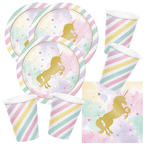 Unbekannt 48-teiliges Party-Set goldenes Einhorn - Unicorn Sparkle - Teller Becher Servietten für 16 Kinder
