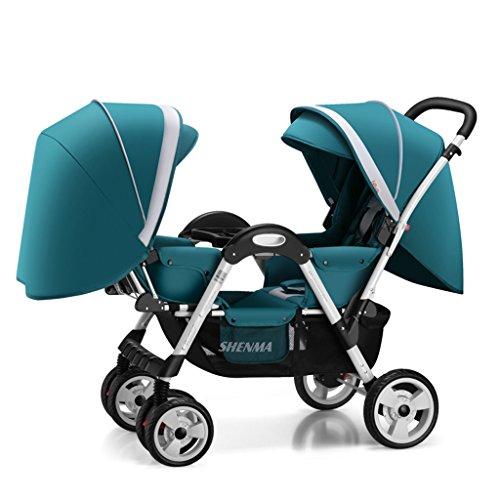 Xiaoping Baby-Kinderwagen können Liegeultraleichte tragbaren Baby-Klappschirm Vierrad Kinder Kinderwagen (0-4 Jahre alt) sitzen (Color : Blue)