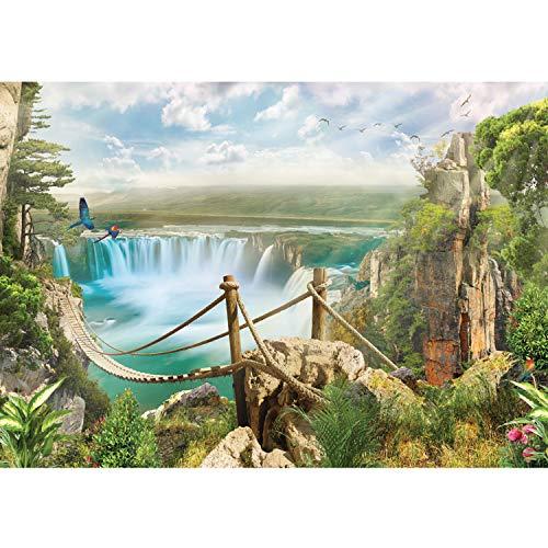 Vlies Fototapete PREMIUM PLUS Wand Foto Tapete Wand Bild Vliestapete - Regenwald Wasserfall Fluss Tropen Aras - no. 3357, Größe:416x254cm Vlies