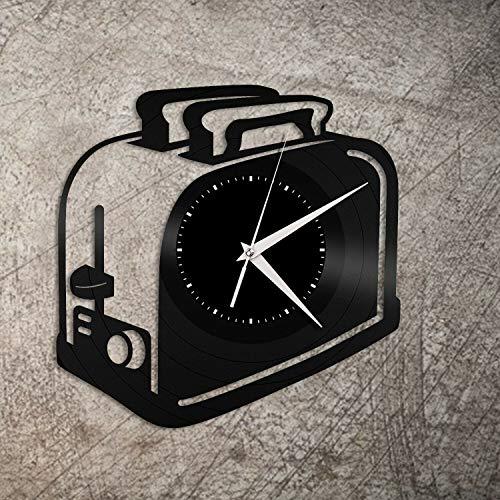 Reloj de pared de vinilo para tostadora, regalo único para amigos, hombres y mujeres, decoración de la habitación del hogar, diseño vintage, oficina, bar, habitación del hogar