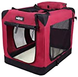 EliteField 3-Door Folding Soft Dog Crate, Indoor & Outdoor Pet Home, Multiple Sizes and Colors Available (36' L x 24' W x 28' H, Maroon)