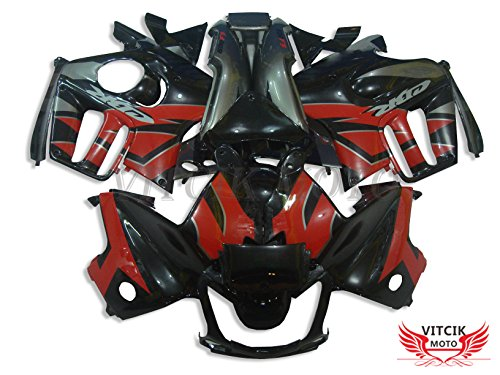 VITCIK (Fairing Kits Fit for CBR600F3 CBR600F 1997 1998 CBR 600 F3 97 98) Plastic ABS Injection Mold Complete Motorcycle Body Aftermarket Bodywork Frame (Black & Red) A005