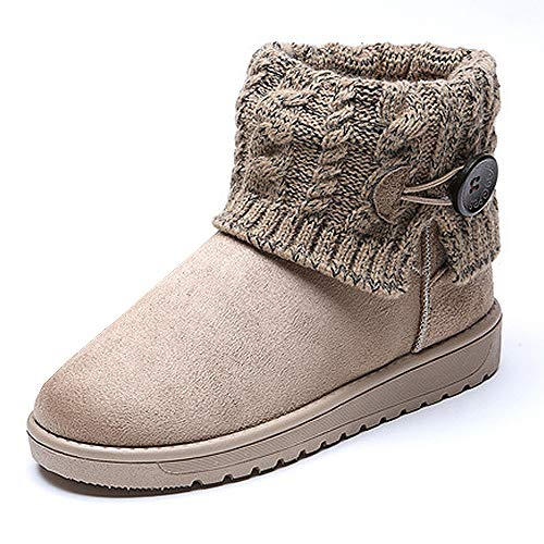 Summer Mae Damen Winterstiefel Gefüttert Warm Boots Strick, Gr.-EU 39--Asia Size 40,Beige