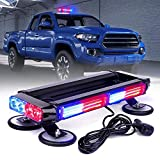 Xprite Red Blue COB LED Strobe Rooftop Flashing Light Bar Double Side Hazard Warning Beacon Police Lights w/Magnetic Base for Emergency Safety Vehicles Trucks Firefighter Traffic Cars