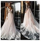 SWEETQT Bridal wedding dress Elegant Lace Wedding Dress Simple A Line Bridal Dress V-Neck Sexy Romantic Floor Length Wedding Gowns Lace dress