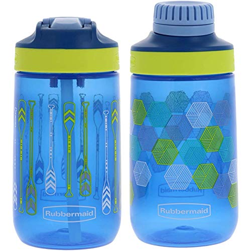 Rubbermaid Kids Water Bottle Sip, Chug - Leak-Proof Reusable Container - Help Keep Your Kids Hydrated - BPA-Free - Equipped with Protective Spout Cover - 14 Ounces, Varsity 2 Pack