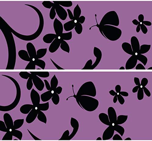 "Selbstklebende Bordüre ""Velvet Butterfly"", 4-teilig 560x15cm, Tapetenbordüre, Wandbordüre, Borte, Wanddeko,violett, Schmetterling"