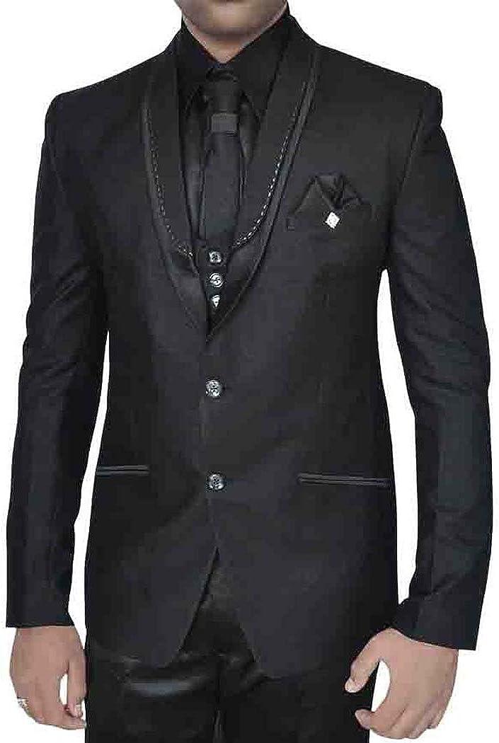 INMONARCH Mens Black 7 Pc Polyester Tuxedo Suit TX05047NXL48 48 X-Long Black