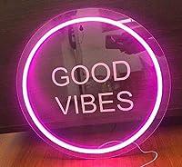 ネオンライトサインLEDナイトライトUSB操作装飾マーキーサインバーパブストアクラブガレージホームパーティーの装飾 (good vibes circle)