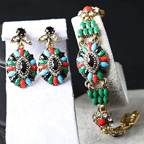 YUANBOO Pulsera de Oro de la joyería de Pavo de Lujo para Mujeres Conjuntos de joyería de Boda Bohemia de Resina Colorida (Main Stone Color : Multi, Metal Color : Gold Color)
