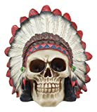 Ebros Indian Chieftain Skull Statue 5.75'Long Mohawk Warrior Skull With Roach Headdress Figurine