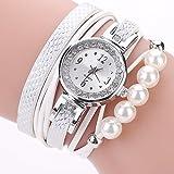 LSAltd Damen Art und Weisediamant-Verpackung um Uhr Lederoid Quarz Armbanduhr (D)