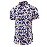 Yowablo Hawaiihemd Herren Kurzarm Hawaii-Print Ananas Palmen Blumen Freizeit Digital Print Stitching Shirt (6XL,1Orange)