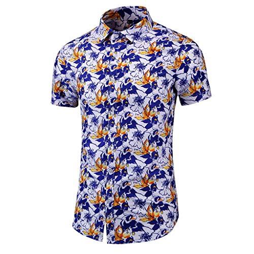 Chemise Homme Manche Courte Chemise de T-Shirt de Chemise de Couture de Nouvelle Impression de Loisirs de Mode numérique (5XL,1 Orange)