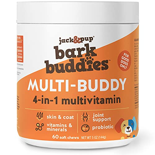 Jack&Pup Dog Vitamins and Supplements Multivitamins for Dogs - BarkBuddies Multi-Buddy Dog Multivitamins Chewable Soft Chews Puppy Vitamins and Supplements - Dog Supplements & Vitamins (60ct)