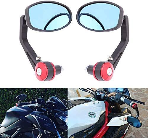 Par de Rojos Espejos Retrovisores, 7/8' Universales para Motocicletas y Scooters Cruiser Chopper Street Bike ATV