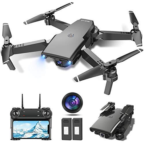 Drone con Telecamera 1080P HD Drone Pieghevole FPV Drone Professionale Posizionamento del Flusso Ottico, Due Batterie Telecomando WiFi Un Pulsante di Decollo/ Atterraggio ,Modalità Senza Testa 3D Flip