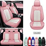 INCH EMPIRE Seat Cover 5 Seats Full Set Universal Fit for Most Vehicle Sedan SUV Truck Pickup Airbag Compatible Synthetic Leather Car Seat Cushion Protector All Weather Adjustable (Pink&White Diamond)