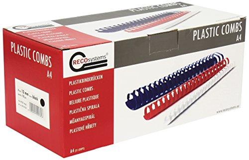 Reco Systems–Espirales r1712132Canutillos De Plástico 12mm de diámetro, 100unidades, color negro