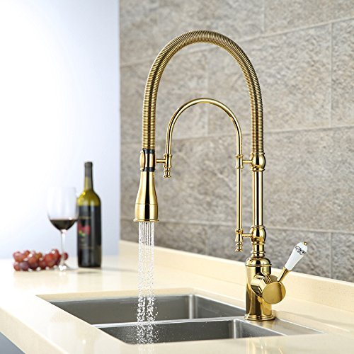 CZOOR Luxury Gold 540mm high Pull Down Kitchen Faucet Solid Brass Sink Mixer tap with Two Functions Pull Out Spray